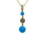 Carlo Viani® Blue Turquoise Pendant with Brown Diamonds and Citrine Style #C102-0089