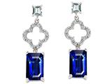 Original Star K™ 925 Emerald Cut Octagon Hanging Drop Created Sapphire Earrings Style #27303