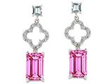 Original Star K™ 925 Emerald Cut Octagon Designer Hanging Drop Created Pink Sapp Style #27306