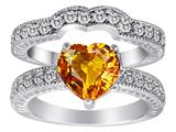 Original Star K™ Genuine 8mm Heart Shape Citrine Wedding Set Style #28589