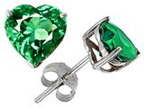 Original Star K™ 7mm Heart Simulated Emerald Earring Studs Style #302263