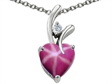 Original Star K™ Heart Shape Created 8mm Created Star Ruby Pendant Style #302992