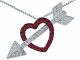 Original Star K™ Created Ruby Heart With Love Arrow Pendant Style #303268
