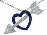 Original Star K™ Created Sapphire Heart With Love Arrow Pendant Style #303269