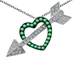 Original Star K™ Simulated Emerald Heart With Love Arrow Pendant Style #303270