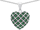 Original Star K™ Simulated Emerald Puffed Heart Pendant Style #303277