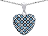 Original Star K™ Genuine Blue Topaz Puffed Heart Pendant Style #303278