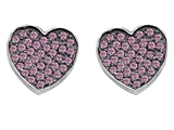 Original Star K™ Heart Shape Love Earrings with Created Pink Sapphire Style #304160