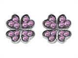 Celtic Love by Kelly Small Lucky Clover Earrings with Created Pink Sapphire Style #304183