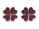 Celtic Love by Kelly Small Lucky Clover Earrings with Created Ruby Style #304184