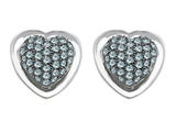 Original Star K™ Heart Shape Love Earrings with Simulated Aquamarine Style #304199