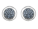 Original Star K™ Round Puffed Earrings with Simulated Aquamarine Style #304217