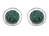 Original Star K™ Round Puffed Earrings with Simulated Emerald Style #304218