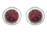 Original Star K™ Round Puffed Earrings with Created Ruby Style #304220