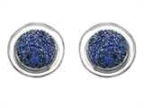 Original Star K™ Round Puffed Earrings with Created Sapphire Style #304221