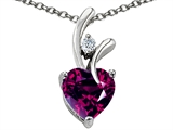 Original Star K™ Genuine Heart Shaped 8mm Rhodolite Pendant Style #304489