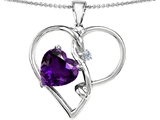 Original Star K™ Large 10mm Heart Shaped Simulated Amethyst Knotted Heart Pendan Style #304490