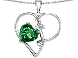 Original Star K™ Large 10mm Heart Shaped Simulated Emerald Knotted Pendant Style #304494