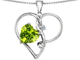 Original Star K™ Large 10mm Heart Shaped Simulated Peridot Knotted Heart Pendant Style #304498