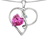 Original Star K™ Large 10mm Heart Shaped Created Pink Sapphire Knotted Heart Pen Style #304499