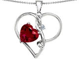 Original Star K™ Large 10mm Heart Shaped Created Ruby Knotted Heart Pendant Style #304501