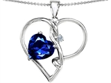 Original Star K™ Large 10mm Heart Shaped Created Sapphire Knotted Heart Pendant Style #304502