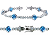 Original Star K™ High End Tennis Bracelet With 6pcs 7mm Simulated Cushion Cut Bl Style #304730