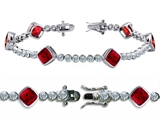 Original Star K™ High End Tennis Bracelet With 6pcs 7mm Cushion Cut Created Ruby Style #304739