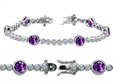 Original Star K™ High End Tennis Bracelet With 6pcs Round 6mm Genuine Amethyst Style #304742