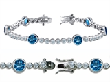 Original Star K™ High End Tennis Bracelet With 6pcs 6mm Round Simulated Blue Top Style #304745