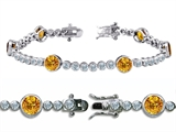 Original Star K™ High End Tennis Bracelet With 6pcs Round 6mm Genuine Citrine Style #304746