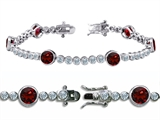 Original Star K™ High End Tennis Bracelet With 6pcs 6mm Round Genuine Garnet Style #304749