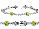 Original Star K™ High End Tennis Bracelet With 6pcs Round 6mm Genuine Peridot Style #304752
