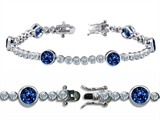 Original Star K™ High End Tennis Bracelet With 6pcs 6mm Round Created Sapphire Style #304755