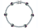 Original Star K™ Classic Heart Shape 7mm Rainbow Mystic Topaz Tennis Bracelet Style #304886