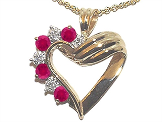 Ruby Heart Shaped Pendant