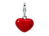 Amore LaVita™ Sterling Silver 3-D Red Enameled Heart w/Lobster Clasp Charm for C Style #QCC118