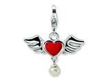 Amore LaVita™ Sterling Silver 3-D Winged Red Heart FW Cult Pearl w/Lobster Charm Style #QCC122