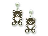 Sterling Silver Teddy Bear Resin Earrings Style #QE5664