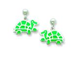 Sterling Silver Turtle Resin Earrings Style #QE5665