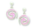 Sterling Silver Pink Snake Resin Earrings Style #QE5668