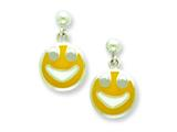 Sterling Silver Smiley Face Resin Earrings Style #QE5675