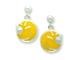 Sterling Silver Smiley Face Winking Resin Earrings Style #QE5678
