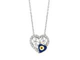 Sterling Silver 18 Inch Heart Necklace With Evil Eye Style #460057