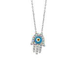 Sterling Silver 18 Inch Hamsa Necklace With Evil Eye Style #460059