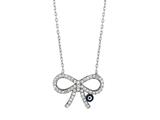 Sterling Silver 18 Inch Bow-Tie Necklace With Evil Eye Style #460060