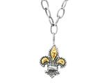 Phillip Gavriel 18K Yellow Gold and Sterling Silver Fleur De Lis Adjustable 16-2 Style #460080