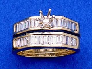 Baguette Diamonds Wedding Set