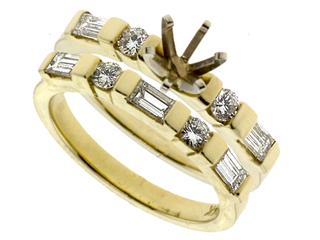 Baguette and Round Diamonds Wedding Set