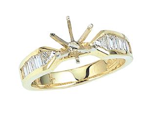 Baguette Diamonds Engagement Ring